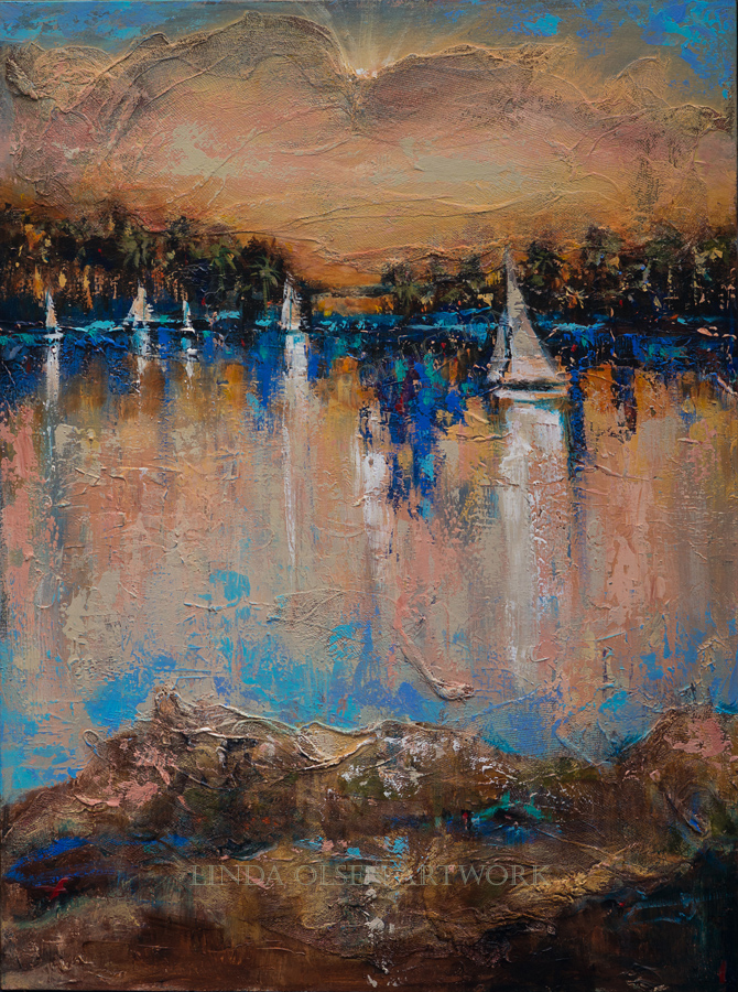"For boat lovers like myself, I have created several paintings honoring this sport. I grew up sailing off the coast of California and have so many wonderful memories and feelings. This semi abstract painting is 30x40, ""End of the Race"" has multi media textures like medical gauze, plater and many layers of palette knife work. Contact me for price and shipping information."