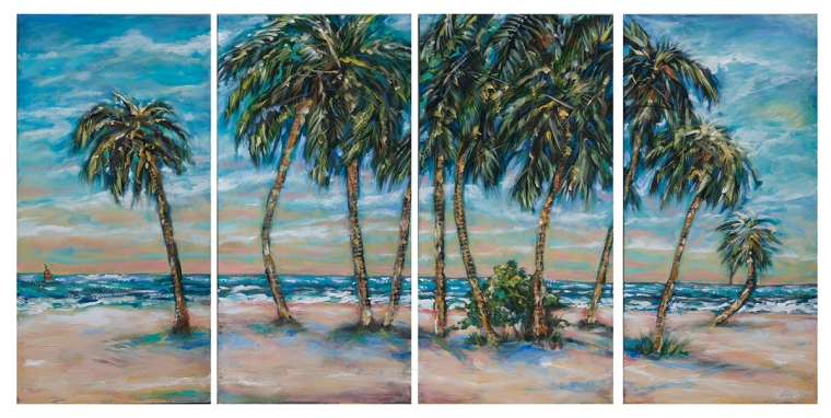 "This 60x30"" of four panels (15x30) is called ""Palms Along the Shore"". It was started 8 years ago and finally revisited and finished. In my bedroom I have a photographic illustration that I took in the Florida Keys years ago...which was the inspiration."