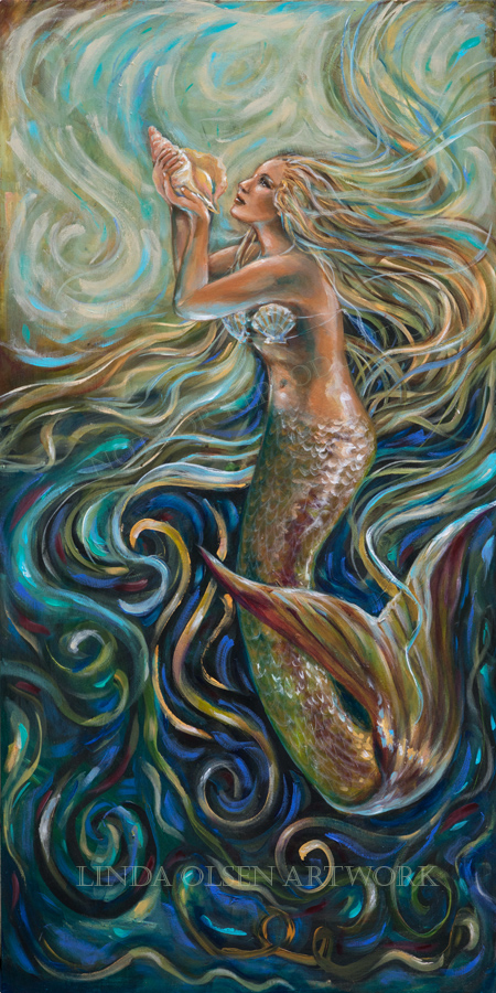 """At times, I paint with the flow of energy in mind and how would I portray the flow of water. """"Treasure"""" is 24x48 and is a thin gallery wrap. The thinner canvases are actually meant to be framed."""