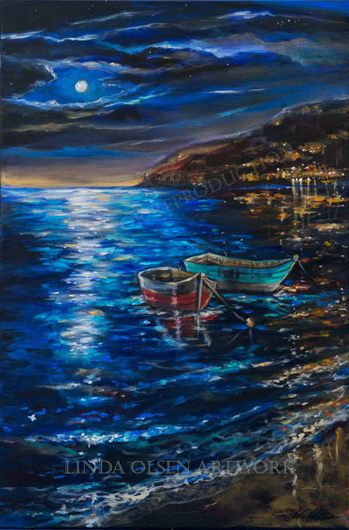 """Two Dinghies"" is 24x36. Growing up sailing and also as an adult, I was fortunate enough to sail around the West Indies and the islands off the coast of California. SOme of the most magical times were sleeping on deck and watching the stars twinkle and the glow from the moon on the water. I made this landscape up from memories and actually didn't have a photo reference."