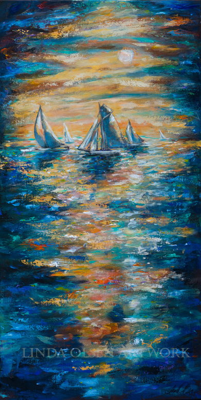 "I have been thinking about my blessings lately and how thankful I am to be able to work at something that makes me complete. Its also therapy. As a child I did a lot of sailing around Newport Beach and San Diego. We sailed from Santa Cruz Islands, the channel islands down to Mexico. I call this 24x48"" painting ""Ensenada Race""."