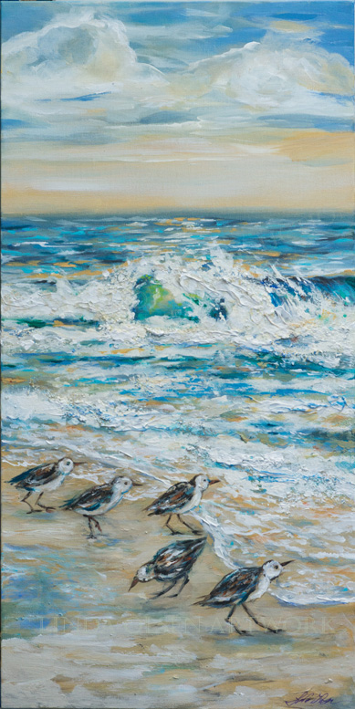 "Lately, my obsession with water, sailing and seaside images have produced these paintings. The one with the gull is called "" Morning Hello"" and is 20x20x2"". ""Sailing Close to Shore"" is 30x15"".  ""Sanderlings Foraging"" is 15x30x2"". When displayed on a wall, a bit of the ocean gives a feeling of peace."