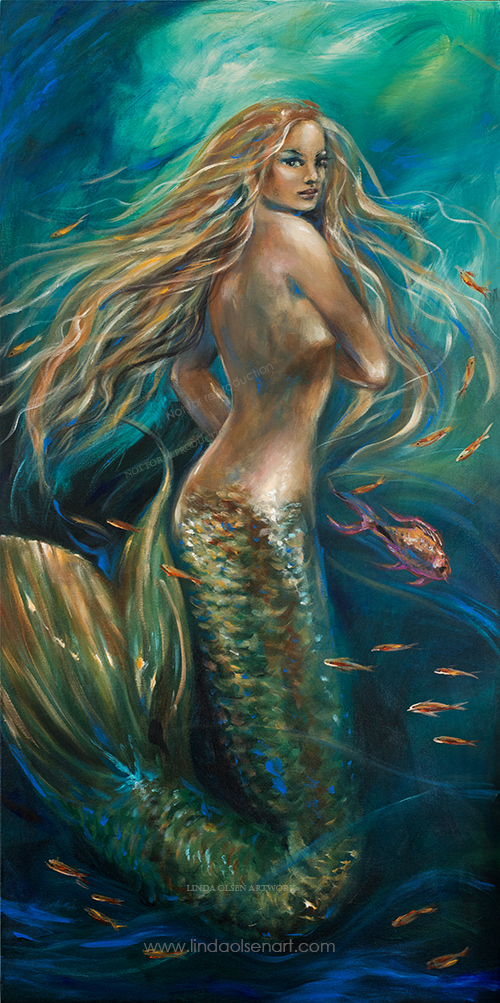 """Sirena"" a 24x48 original mermaid painting was recently shipped to a couple in Miami. SHipping a large painting required approximatley 50.00 in shipping and packing materials on top of the shipping freight cost so make sure you charge enough for shipping charges. I found that Home Depot had the best deal on the large bubble wrap and I purchased two large sheets of foam core board to sandwich the wrapped painting. It was first wrapped with archival white paper. Corner cardboards protected the corners and the outside box was from Uhaul...a large mirror box in which I reconfigured to be narrower."