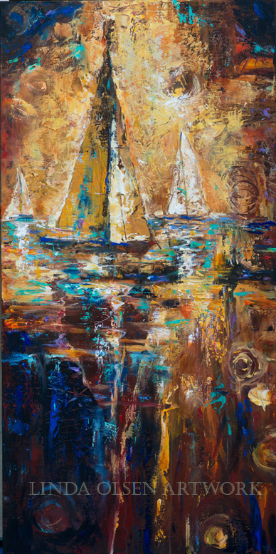 "This Abstract painting with sailboats in the late sun is called ""The Doldrums"". In  otherwords, No Wind! It is a gallery wrap but could be  framed. 24x48""."