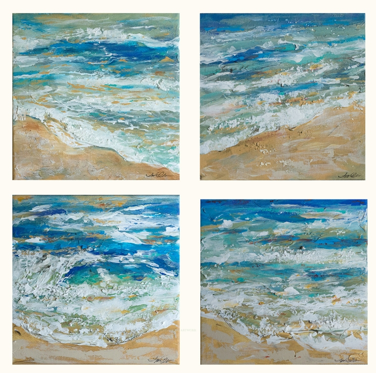 "Since its been raining I am having fun with semi abstract mini paintings of the ocean. These are all 8x8"" gallery wraps and make lovely accent pieces. Affordable too!"