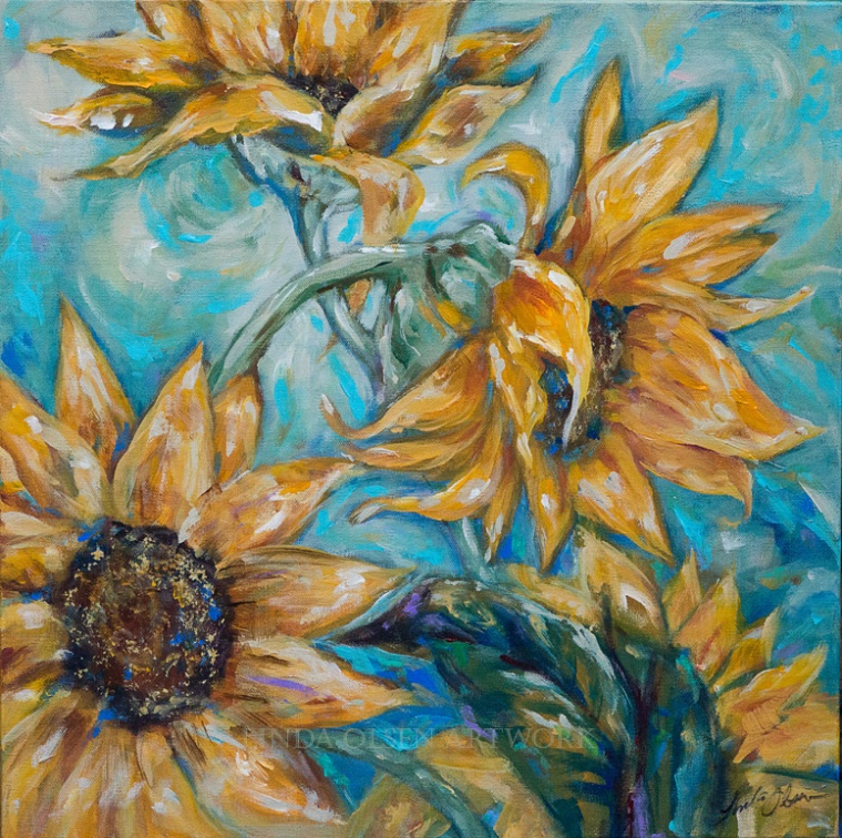 """A Bit of Sunshine"" is 20x20 and was started Tuesday while teaching painting at the Senior Activity Center. In a two hour class, it is hard to accomplish an entire painting. In fact, when I left, there were only two sunflowers. Getting to work wihtout the teaching factor is a lot more introspective and enjoyable as I put music on and can concentrate. My studio is my haven and I find the most happiness while creating. Sometimes I sit in my rocking chair and study the art that I am working on and come up with new ideas to explore. Its called artWORK for a reason. Usually, I am exhausted at the end of a painting day from mental exercise and physical work. My sister in law who lives in LaJolla, California loves sunflowers and buys fresh bouquet weekly for the living room. This painting reminds me of her beautiful smile and happy nature."