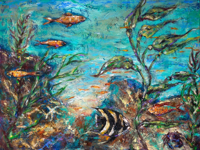 "I had a productive weekend painting and took an old painting with texture and totally repainted it. It haad the same theme so the energy was fun and vibrant. I was listening to Kygo music all day which made me dance a bit in my studio. ""{Beneath the Waves"" is 48x24x2""."