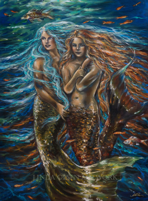 "This new mermaid painting is called ""Best Friends"" and is 30x48"". I am actually looking for a better name for the painting and appreciate some ideas."