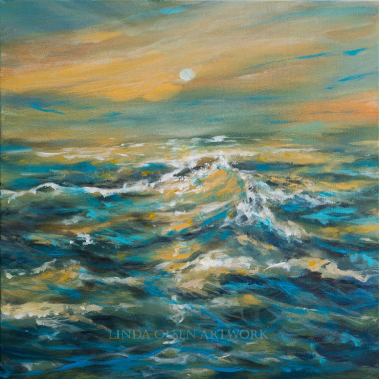 """Golden Wave"" is 20x20x2 gallery wrap. original painting. I did this painting while teaching seniors to paint. I wanted to challenge my students with something more difficult and this was."