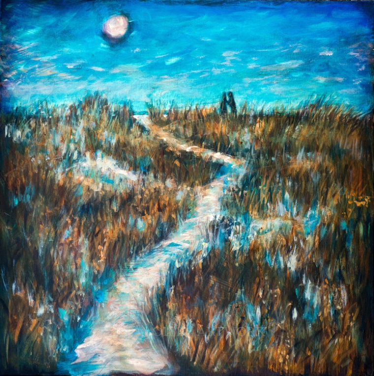 """Lovers Path"" is 24x24, thick gallery wrap canvas of friends Terry and Terri who were embracing on the top of the hill at the path to the beach as the moon rose. It was such a romantic scene that I had to paint the memory."