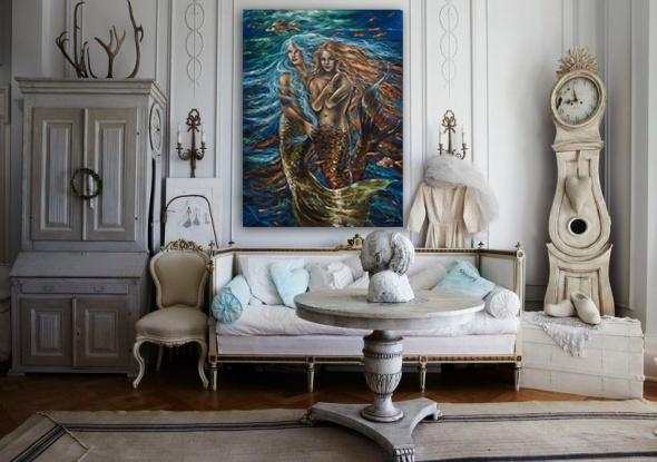 mermaid painting wall