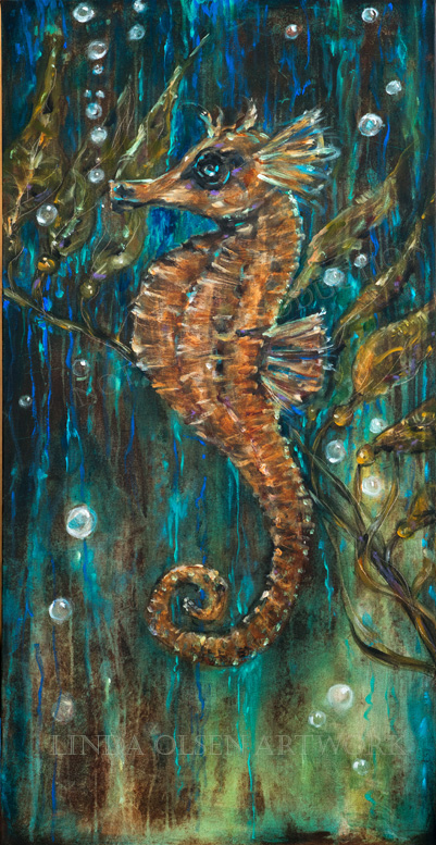 """Seahorse and Kelp"" is 24x48 and started out quite abstract but the underwater scene evolved as I was painting. The seahorse is large and the textures, glazes with tints give the painting a jewel like appearance."