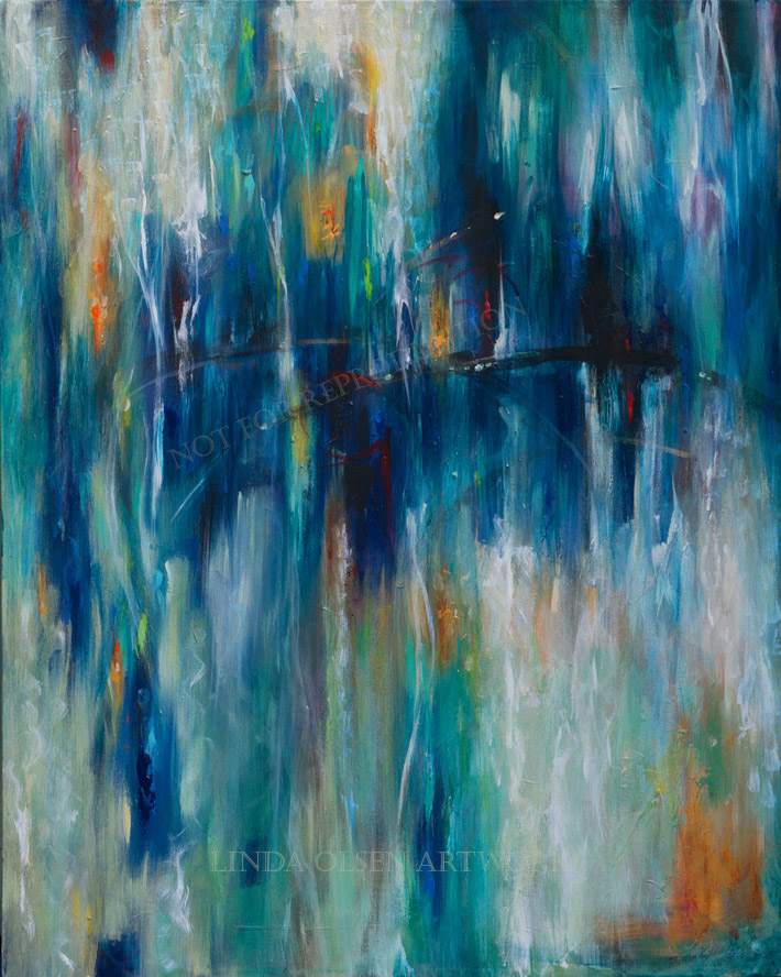 """Serendip[ity"" is 24x36. It has a jewel like vibrancy and reminds me of reflections on metal."