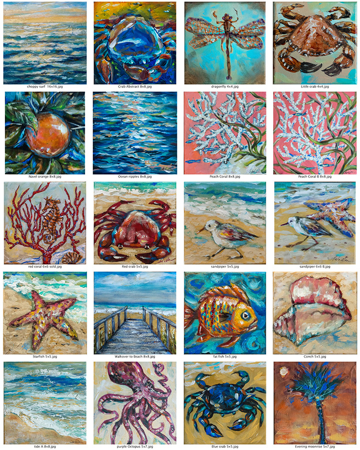 while my husband was visiting family in Los Angeles, I got busy with getting inventory of small original paintings for an upcoming show. These small accent pieces sell pretty well at events because of price points of $40-125.00 Some have recently sold...so I may want to do a few more.