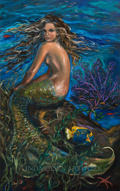 Just sold a metallic print of this mermaid painting. The original hangs in my kitchen.
