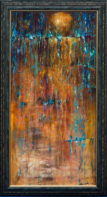 """Water Off my Back"" is 24x48 and was painted on masonite panel and framed. I wish you oculd see this up close and personal. The color juxtaposition and metallic highlights really give interest to this abstract painting."