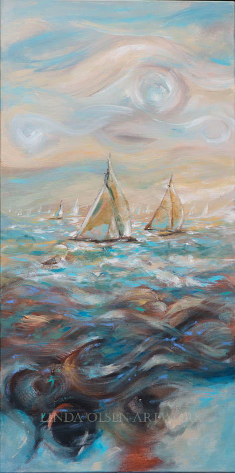 "I feel in love with the soft colors for this painting ""Wooden Boats"". It is 24x48"" and available. IT reminds me of my youth, growing up around boats and racing along the coast of California on a historic wooden boat."