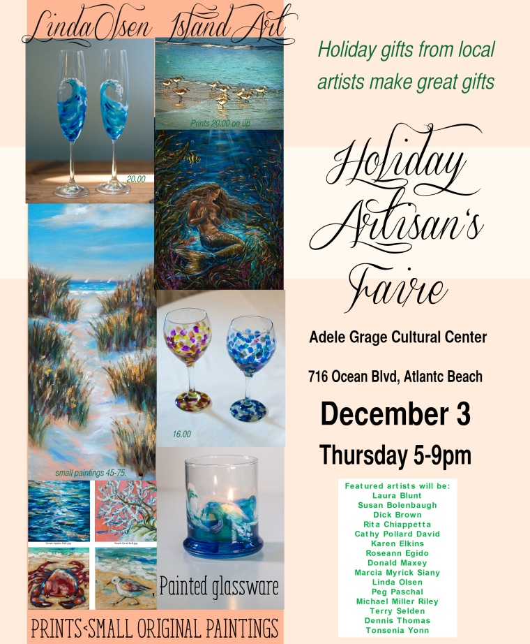 I am one of a dozen artists selling our artwork at this great little show at the Adele Grage Cultural Center on December 3. Hope you can come by if you are local. I have been really working hard on painted glassware, mini paintings and ordering more metallic prints for the show.