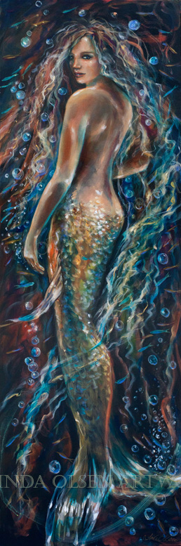 These three large paintings of mermaids were done last year and this year. Recently, after studying them, I decided to alter some areas and like them much better.