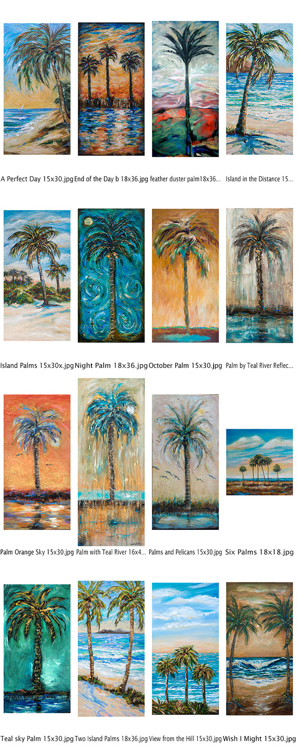 "I have assembled various palm paintings that range from 15x30 to 16x40"" all gallery wraps and I am offering them for half price until the end of December. Sale prices are 275.00-350.00."
