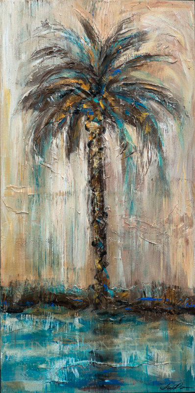 Palm by Teal River Reflection 18x36