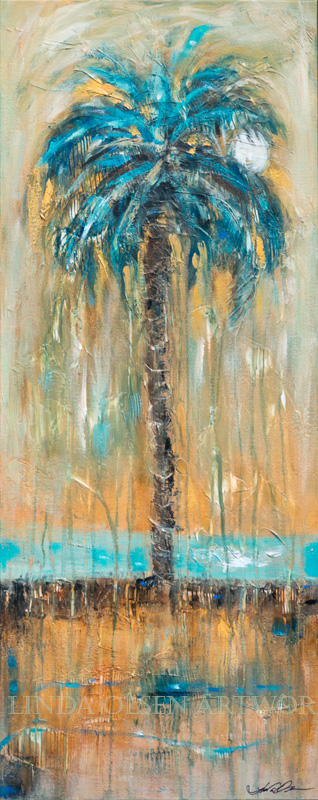 Palm with Teal River 16x40
