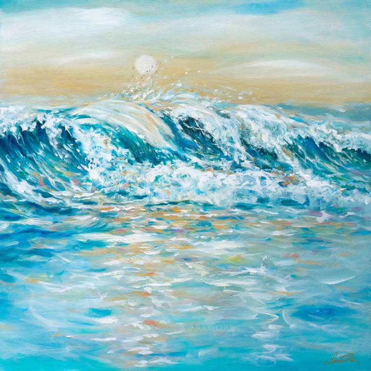 "Back to my beach palette, I created this 40x40"" wave painting with subtle golden metallic sheen. Its called ""Sea Spray""."