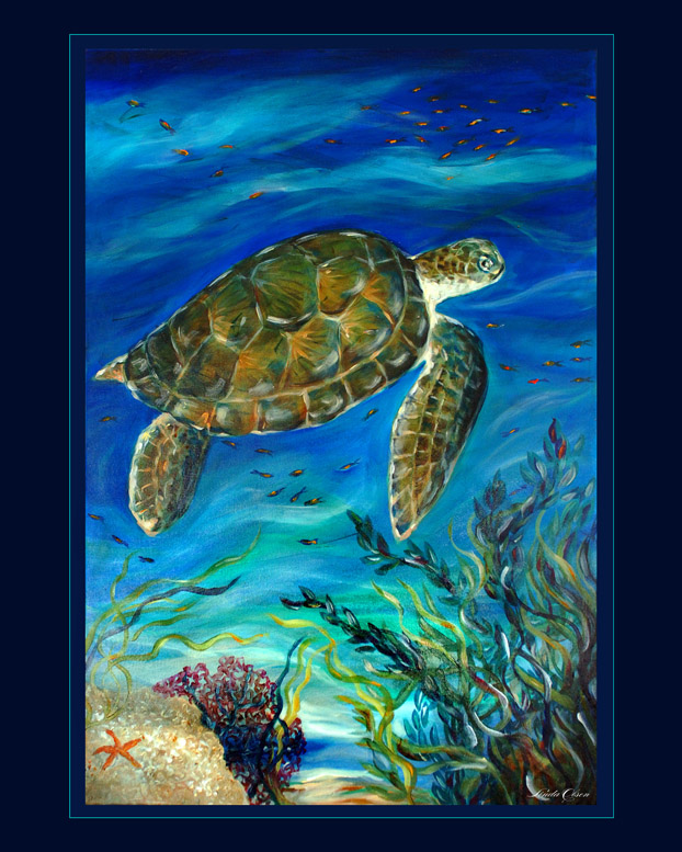 Swimming by the coral 24x36sold
