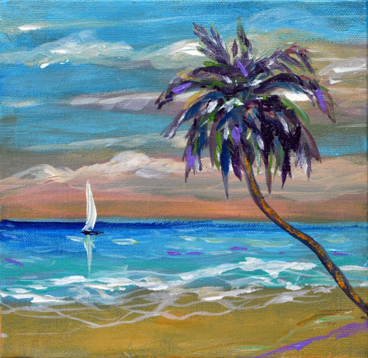 tropical beach 8x8