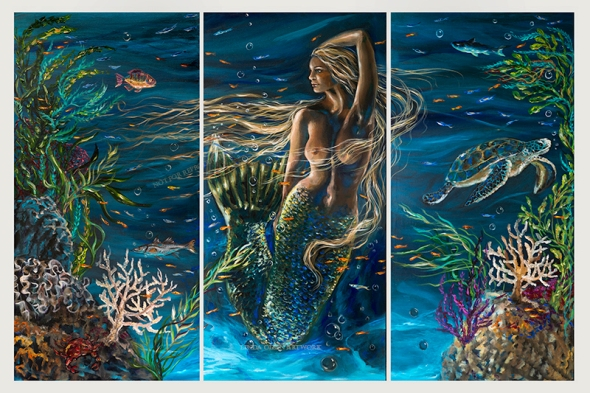 "Congratulations to Cathy and Vaughn for purchasing this 72x48"" mermaid painting. So happy!"