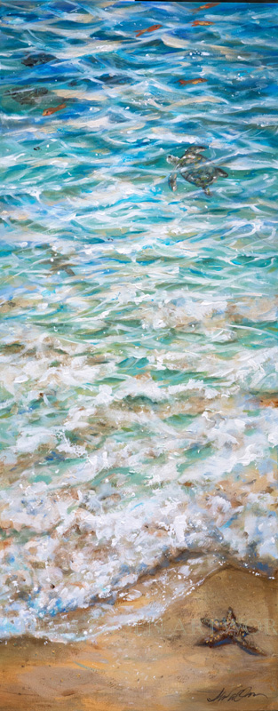 "A small Sea turtle makes it to the tide and escapes into the freedom of the Sea. Many baby turtles are food for gulls and other sea life so I wanted to give this little one a happy day. Safe for now! This painting is 15x40x1.5"" and would look nice on a wall."