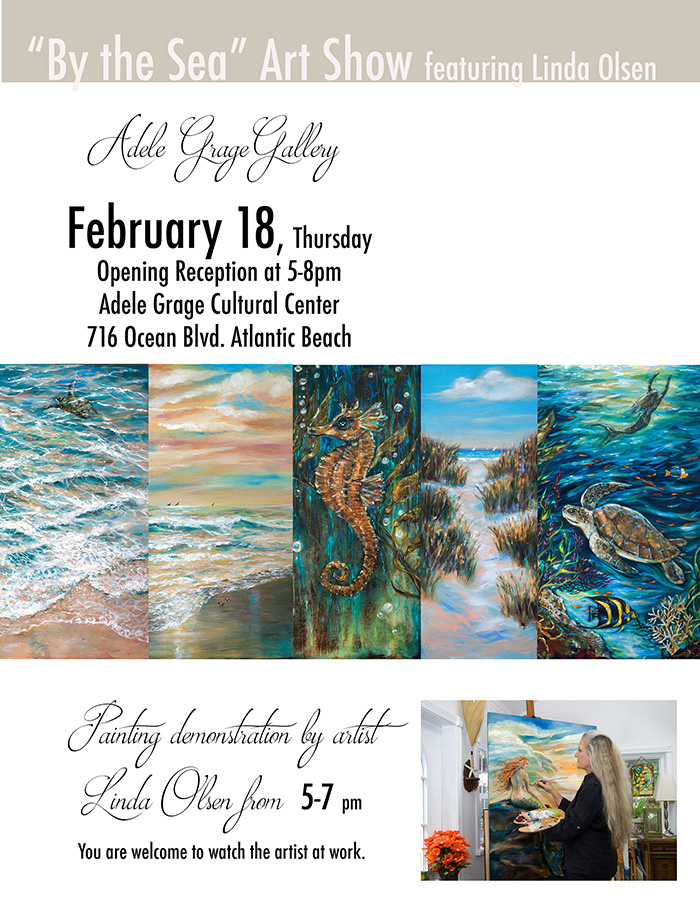Being an artist means also marketing yourself as well as creating. I have been honored to have a one woman show the entire month of February at the adele Grage Cultural Center in Atlantic Beach. The opening is this Thursday evening and I will be doing a painting demonstration for 2 hours at the opening. Originally I thought doing a demonstration would help me with my shyness and standing around for three hours talking to people, plus thought it may bring more interest. Then the newspaper ran huge photos and a bio for 2 weeks so now ..I am getting nervous. Do I need to get some friends to help with sales (in case there are any?) I cannot paint and  take care of the business side at the same time. My lovely friend Nancy said she can help for a while.So much to do before Thursday.