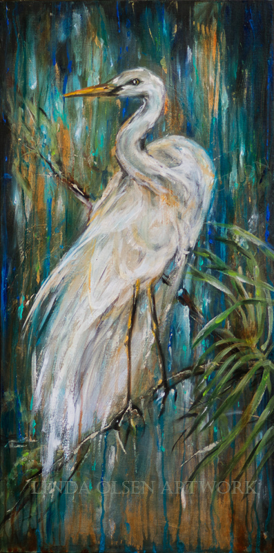 This new painting is a thick gallery wrap 18x36 and portrays a Florida Egret near a waterfall and tropical garden.