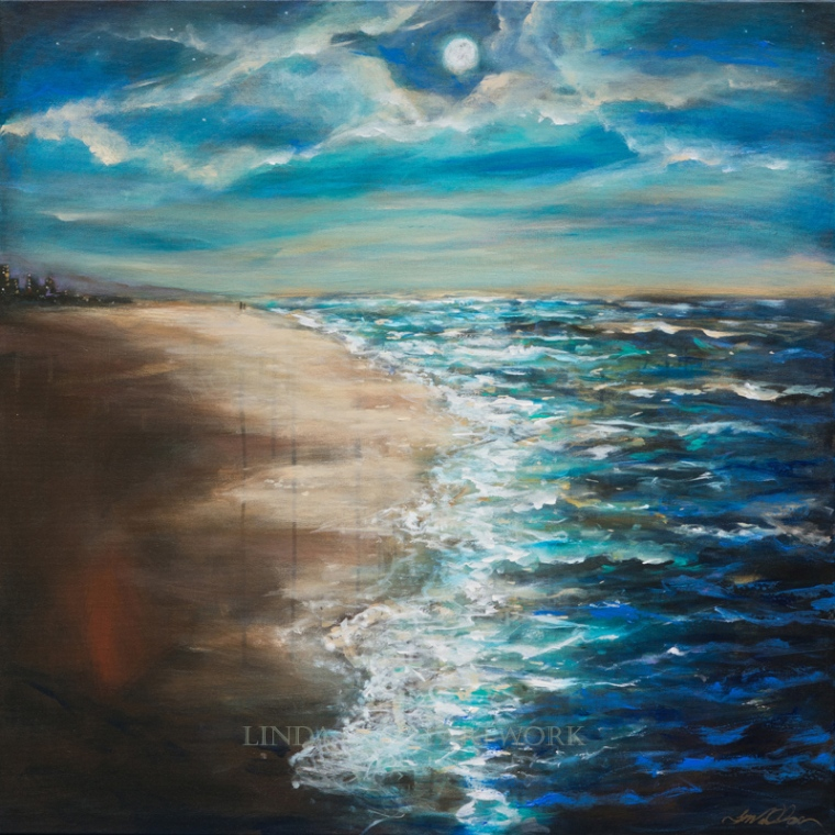 """A couple of weeks ago, I started a series of paintings with the theme of Moonlit Stroll on a beach. I wanted to keep the various abstract details, metallic glazes and water details. They all started with a premium galley wrap white canvas which I covered with Black Gesso. Then with large brushes, I cover the sand and water with metallic acrylic and then painted over the metallic so only parts show. Slow drips and removing paint gave additional interest to these abstract expressions. One is 36x36"""". one is 18x40"""" and the one I now have over my fireplace is 36x24"""". All are for sale."""