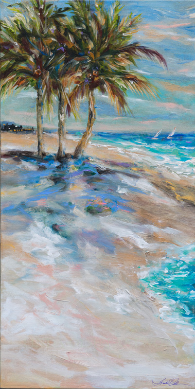 "This new tropical landscape was completed this week. I am trying to use more abstract brush strokes from the flat of the brush, scraping and smushing the paint in thin and thick strokes. I also added many unexpected colors that add subtle jewel-like accents. ""Three Palms"" is 15x30x1.5 gallery wrap. It can be shipped anywhere."
