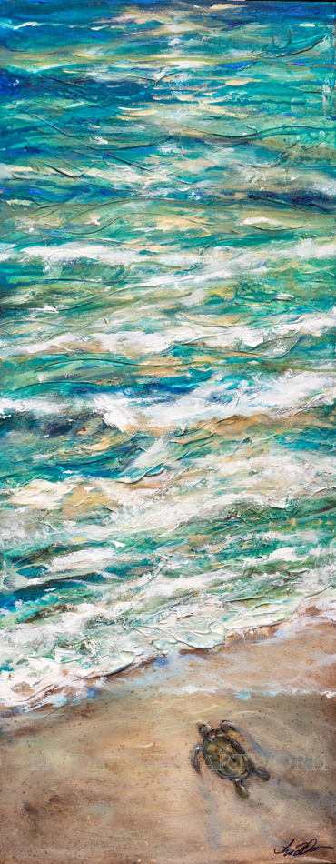 "For two weeks I have been working on these abstract expressions of the ocean tides with baby sea turtles running for the tide. Much of the initial process involved outside painting with drips and runs with some layers being scrubbed off. After painting the canvas with flexible white  plaster, I ran paint and water, drips manipulated by turning the canvas in different directions, adding and rubbing off some paint layers and then finally adding brush work, metallic touches and splatters of antique umber stain mixed with glazing mediums. These range in size from 14x14"" to 24x48"". The tall skinny ones are 16x40"". Inquire for prices as these are for sale."