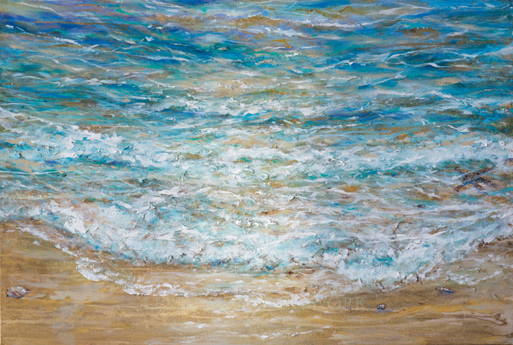 "I painted this beach scene for over my fireplace. It has a layering of pastel aquas and metallic touches. It is called 36x24"". Its a happy painting."
