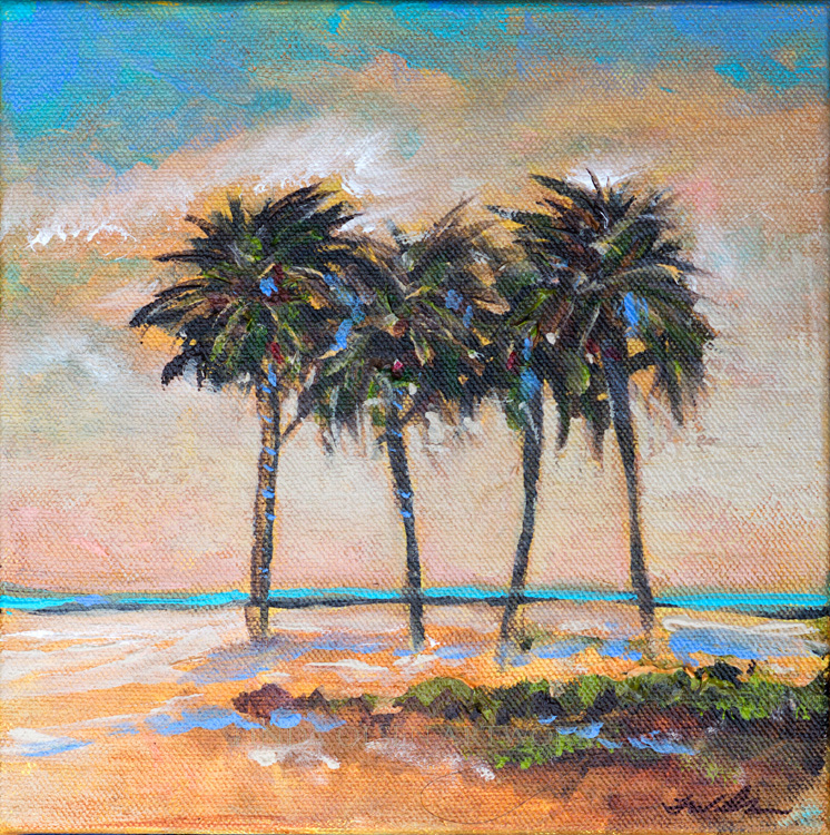 "There are times I like to work on smaller paintings. The first one is called ""Four Palms"" and  is 8x8"". The second one is ""SB Park"" and is 14x14""."