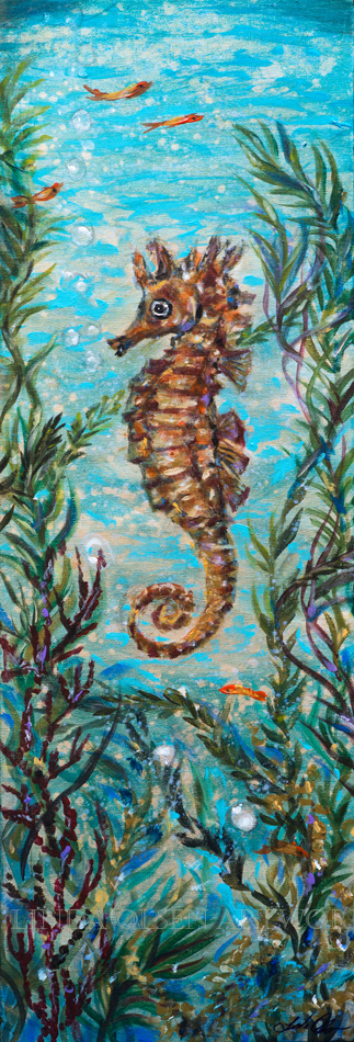 """Seahorse Amongst Seaweed"" is 12x36x1.5. I started with a gessoed gallery wrap canvas and painted it with light gold metallic paint from Home Depot. Then I brushed on a glaze of blue brown acrylic.  Adding spashes of water to the glaze and then scrubbing parts off. Then the paintings started and some areas did not get additional paint. The antique glazing of raw umber was applied again and rubbed off. I like the textural look of the layers."