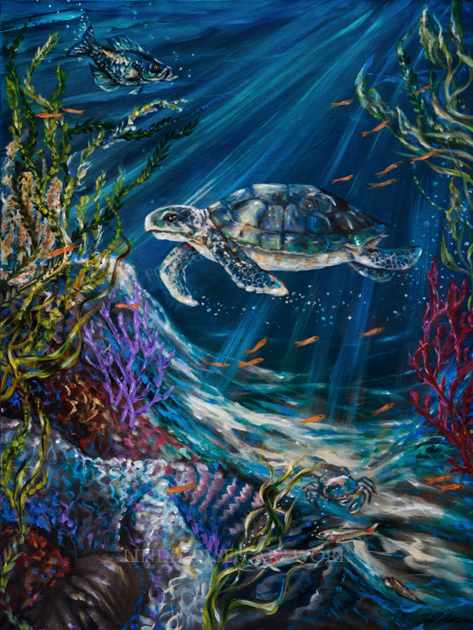 "My new turtle painting was completed this week. ""Coral Reef Turtle"" is 30x48"" and has some interference and metallic touches throughout. Sort of like having an aquarium on your wall?"