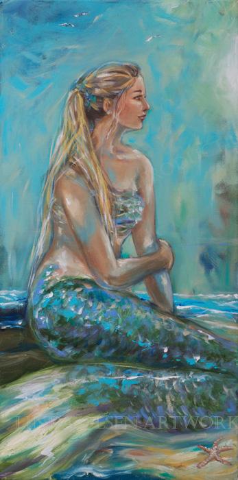 Mermaid Sunning on Shore 18x36