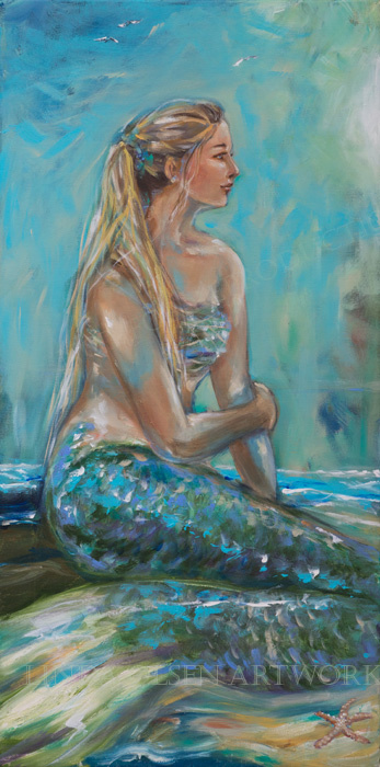 Mermaid Sunning on Shore 18x36