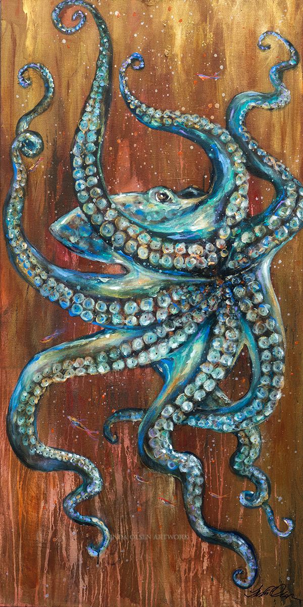 """Octopus Arms"" is a new fun painting with many layers of glazes, metallics and expressionistic details. I spent over two days on the watery background with drips and putting paint on and then manipulating the effect of water. Originally I was going to add blue glazes to the rusty golden backdrop but then liked the color mixes with the blues and greens of the octopus. It reminded me of copper patina. 24x48"" gallery wrap."
