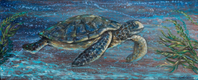 "Since you may be following my painting blog, you may have noticed a new technique  I have been exploring with my jellyfish series. I started this painting in the same way and after two days of work on the water background (which started out with reds and rust colors), I was able to sketch and paint in the sea turtle. I find that the background lends more interest and details, semi abstract elements. ""Sea Turtle Tutti"" is 40x16"""