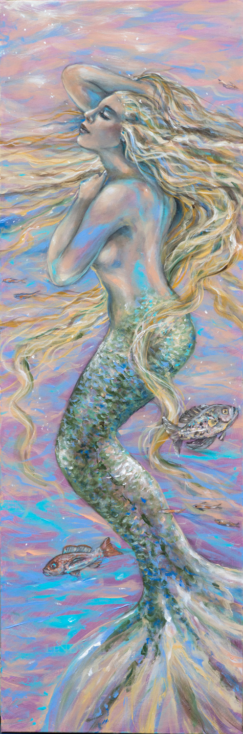 "Most of my mermaid artwork encompasses the blues of the ocean yet this one was painted  with the colors of a beautiful sunrise with pinks, purples and blues. ""Sorbet"" is 20x60 so is impressive on a wall. Also I tried some techniques that used more soft washes of colors painted in layers rather than heavy paint and brushstrokes."