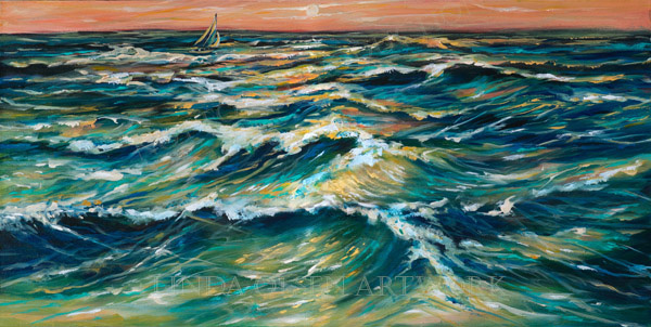 Distant Sail at Sunset 30x15a