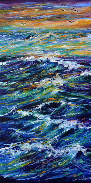 Paddling Out at Sunset 15x30