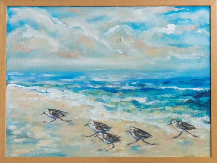 """Sanderlings"" is an older painting I did years ago but touched it up quite a bit. It has a fun, happy vibe to it. Framed 25x19""."