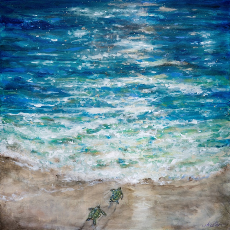 Sea Turtles First Plunge 36x36