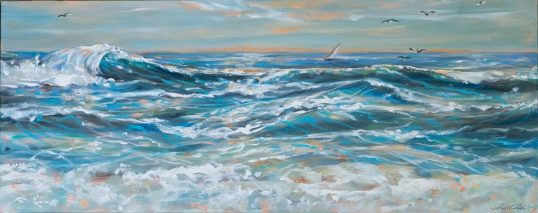 "I completed this wave painting this week. It is not easy to work out painting problems. In my head I had a vision of a more realistic ocean painting. Recently I have focused on water, ocean and sea turtle paintings with more of an abstract flair. ""Waves and Wind"" is 40x16 and I am pretty happy with the results."